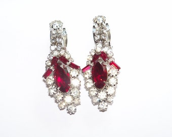 Vintage Earrings Clear and Burgundy Red Rhinestones Signed Wedding Jewelry Jewellery Bridal Party Prom Opera Gift