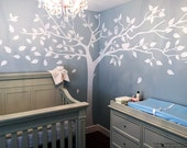 Nursery Wall  Decals, White Tree Stickers, Photo Tree Decal, Living Room Tree Decal- Super Big Tree(133inch) -Designed by Pop Decors PT-0024