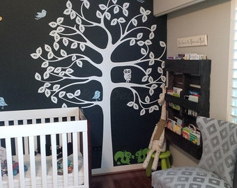 Tree Wall Decal Squirrels Decal Baby Room Decor Nursery Wall Decals-Shelving Tree and Squirrels-Designed by PopDecors