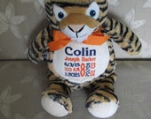 Stuffed Tiger Baby Cubbies Birth Announcement Personalized Baby Gift Jungle Theme Stuffed Tiger