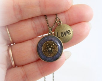 Resin pendant, Painted Necklace, violet Necklace, Navy blue Resin Necklace, Round Pendant, hand painted, Silver Necklace