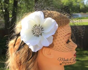 Poppy Wedding Headpiece - Off White Black Birdcage Veil - Wedding Headpiece