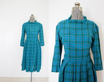 Vintage 1950s Dress - Wool Plaid Flanel Blue & Green Full Skirt Pleated Day Dress 50s - Small