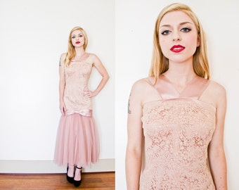 Vintage 1950s Dress - Pink Blush Lace Tulle Satin Wedding Mermaid Wiggle Gown - Medium