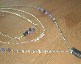 Bohemian Crystal Point Triple Layer Necklace - 3 stone color options