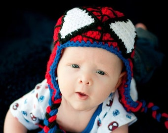 Crocheted Spiderman Beanie with earflaps & braided ties