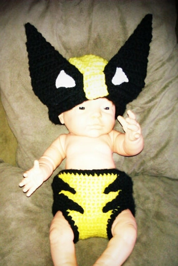 Crocheted  Wolverine Inspired Hat & Matching Diaper Cover