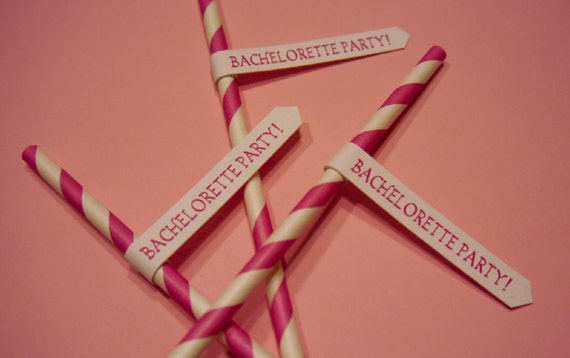 Bachelorette Party! Pink and White striped old fashion paper straws with flag