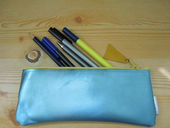 Pencil case,leather pencil case, leather pencilcase, leather pouch, bright blue leather, blue pencil case, leather case,zipper pencil case