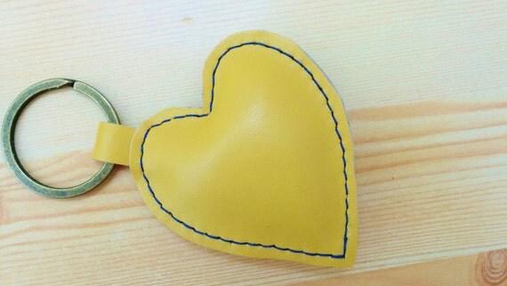 Heart keychain, heart keyring, leather keychain, leather keyring,yellow heart keychain, eart keyring,yellow heart leather,leather heart