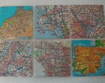 Map Coasters / Custom Map Coasters - Set of 6