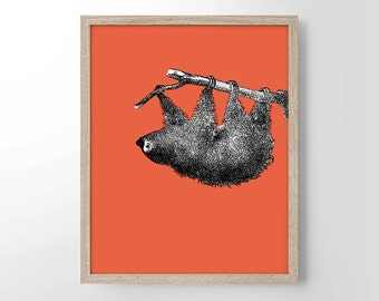 Sloth With Pop Color, Vintage Engraving, Simplistic, Cute, Minimalist, Colorful Office, Kitchen, Home, Nursery Decor, Unique Gift, Poster