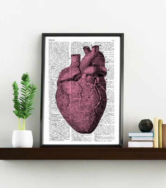 Upcycled Dictionary Page Upcycled Book Art Upcycled Art Print Upcycled Book Print Vintage Art Print Heart Anatomy BPSK033