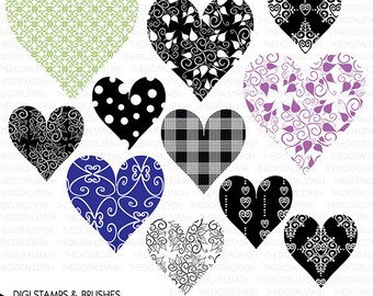Valentine Heart Patterns - 11 Digital Stamps and Brushes - INSTANT DOWNLOAD - for Cards, Journals, Scrapbooking, Collage, Invites, Crafts...