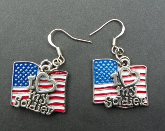 Military Earrings Soldier Earrings American Soldier Earrings  Patriotic Earrings USA Flag Earrings USA earrings USA Soldier earrings pride