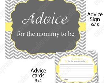 Yellow Grey Chevron Shower Mommy to be Advice sign and cards  PRINTABLE   INSTANT Download - 1010