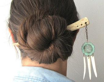 Shield Hair Stick Deer Antler -SOLIS- Dangle Beaded Tribal Horn Southwestern Concho Boho Chic