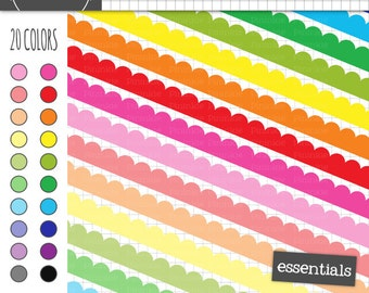 Scalloped Digital Borders, Scalloped Digital Ribbon, Rainbow Clipart, Instant Download, Commercial Use
