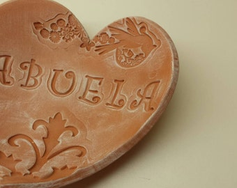 Handmade Pottery Mother's Day Heart Dish for Abuela