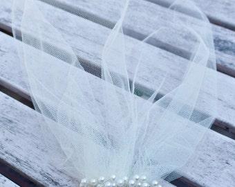 Blusher veil, Tulle Birdcage Veil, Vintage Style Petite Veil Mini Blusher Illusion Tulle Veil Ivory or White