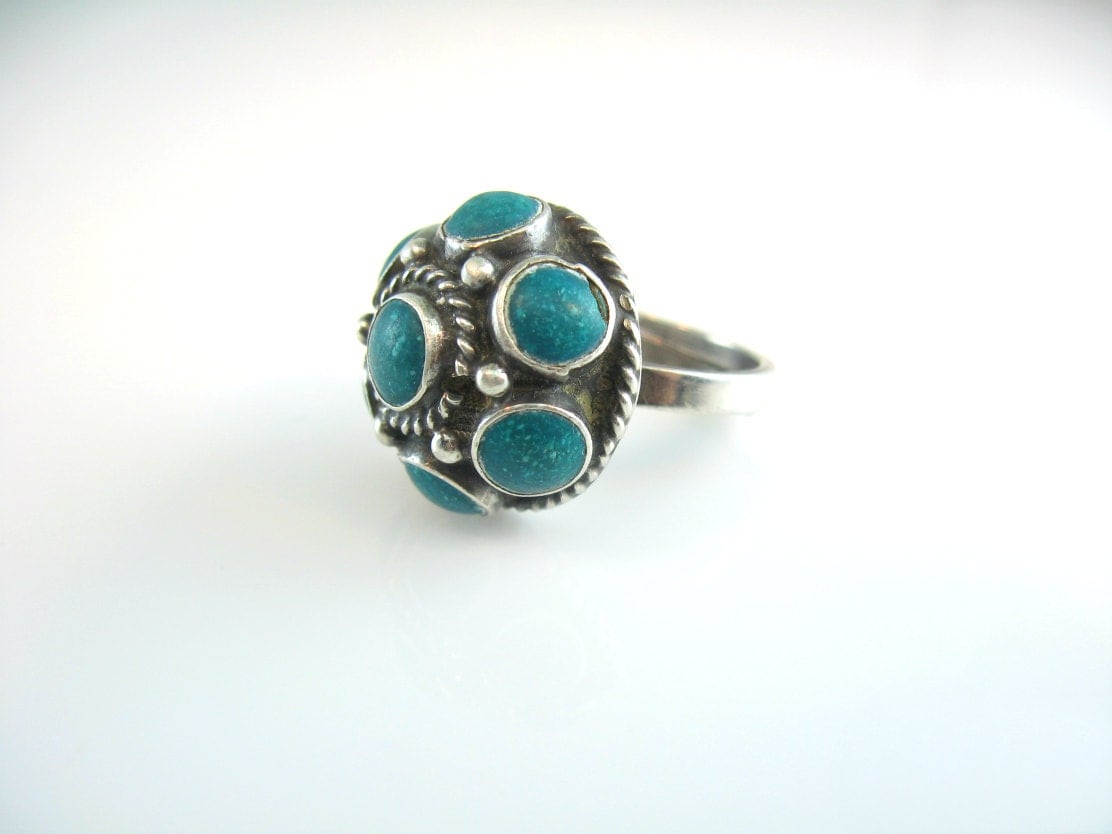turquoise ring vintage mexican sterling silver by
