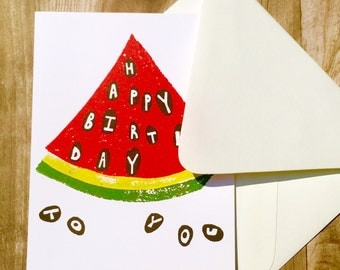 Item AD17-Watermelon Birthday Greeting Card -- Block Print