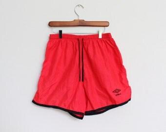 Umbro Shorts Swimming Trunks Mens Medium Large 26 28 30 Vintage Bathing Suit Swim Red Black Neon Soccer Womens