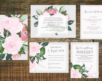 Floral Wedding Invitation Suite (Set of 25) | Invitation Set, Garden Wedding, Pink, Gray, Spring Wedding Invitation