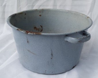 Vintage Blue Enamel Pot Flower Planter