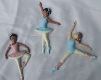 Set of Three Vintage Ballerina Wall Hanging Burwood Plaques