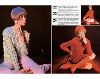 Vintage 1960s Vogue Knitting & Crochet Book No. 69 Swinging Sixties Mod Sweaters, Cardigans, Dresses, Stockings Original Knitting Booklet