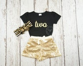Black and Gold first birthday outfit- Glitter gold birthday shirt- Gold Girls Birthday outfit- Glitter gold bodysuit- 2nd birthday outfit