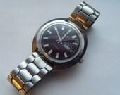 Bulova Watch Mens 1973 Automatic Maroon Burgundy Dial Runs