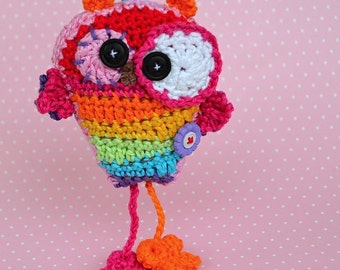 Crochet Pattern / Crazy Rainbow Owl Hanger / Pendant / Ornament by VendulkaM / Digital Pdf