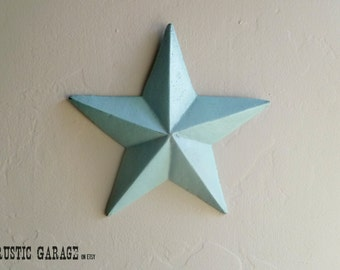 "AQUA - Handpainted Cast Iron Texas Star Wall Hanging - 7.5"" Metal Star Wall Decor - Patriotic Nautical Rustic Country Home Decor"