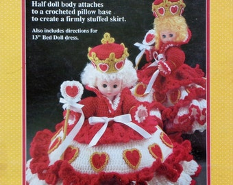 "Fibre Fiber Craft QUEEN OF HEARTS 10"" Pillow Doll  - Crochet Doll Clothes Clothing Pattern"