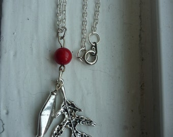 Winter Leaf Charm Necklace