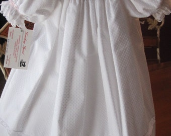 White dotted swiss smocked bishop dress...custom only