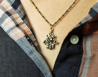 Michal Golan Small Crystal Hamsa Necklace in Black and Gold