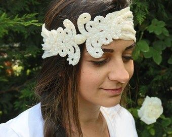 Ivory Lace Bridal Headband, Pearl Beads Applied Cottage Style Head Piece. Handmade and One-of-a-Kind Item