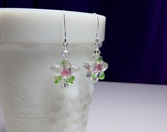Green Pink Flower Lampwork and Crystal Earrings, Mothers Day Gift, Mom Sister Grandmother Bridesmaid Jewelry Gift,