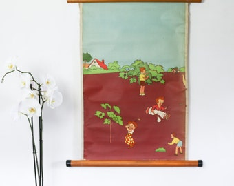 Vintage Pull Down School Chart, Primary School Illustrations, Orchard Play