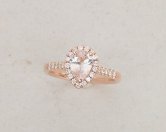 Pear Shape Peach Pink Champagne Sapphire Engagement Ring in 14k Rose Gold Diamond Halo Gemstone Engagement Ring Weddings