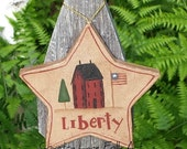 Americana, star ornament, hand painted, liberty star, paper mache, saltbox house, primitive decor, July 4th, 4th of July, Prim home decor