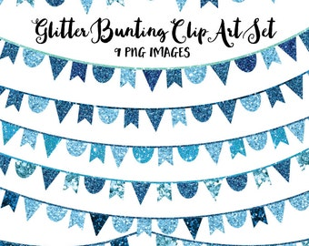 80% OFF SALE Glitter Clip Art, Blue Bunting Banner Clipart, Instant Download Images for Commercial and Personal Use