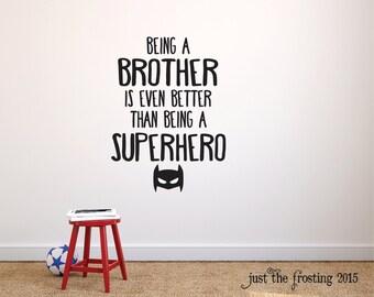 Superhero Wall Decals - Brothers Superhero Wall Art - Superhero Mask Wall Decor -  Superhero Brothers Decal Wall Sticker