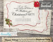 Classic Vintage Christmas Party Invitation Variation - INSTANT DOWNLOAD - Traditional Christmas Colours Family Invitation by Sassaby