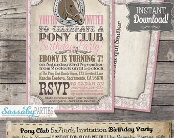 Pony Club Invitation - INSTANT DOWNLOAD -  Editable & Printable Girls Horse, Riding, Cowgirl, Birthday Party Invitation by Sassaby Parties