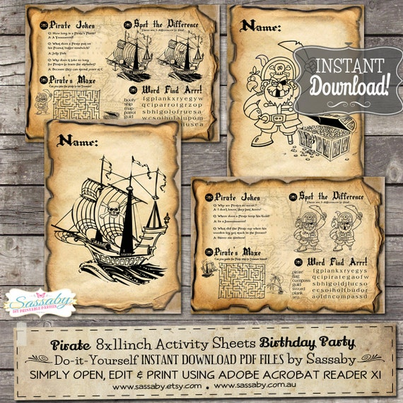 Pirate Birthday Activity & Coloring Sheets/Placemats - INSTANT DOWNLOAD - Birthday Party Decorations by Sassaby