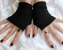 Black Arm Warmers Gothic wrist cuffs short Fingerless Gloves - name - belly dance fusion dancing burlesque nior vampire cotton glove gothic